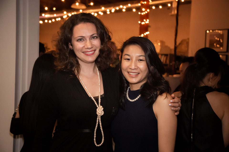 Inna and Diana enjoying the Christmas client party