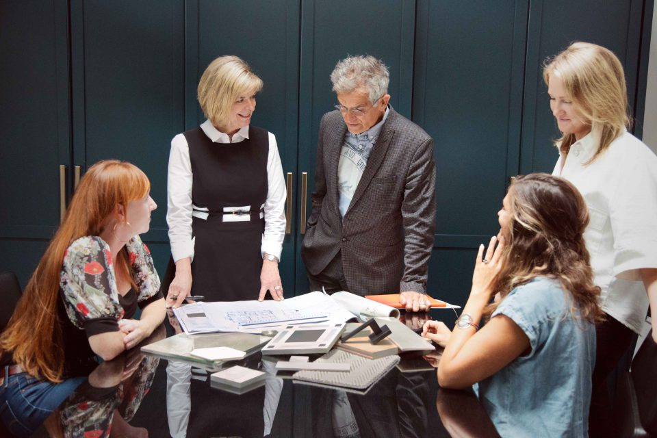 Lisa Perry and the interiors teams with Jim Bussy